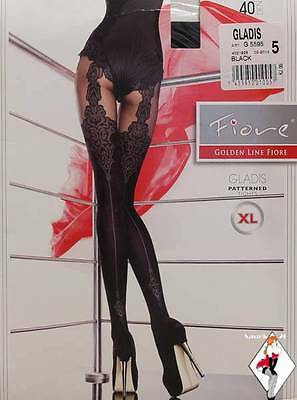 Seamed Sheer Opaque Fiore FASHION Suspender Effect *BLACK* Pantyhose Tights *XL*