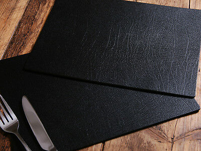 Set of 6 ARTISAN BLACK Bonded Leather PLACEMATS, Made In UK TABLE MATS