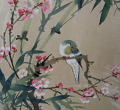 2 BIRDS and CHERRY BLOSSOMS Chinese Painting on Fabric, Framed