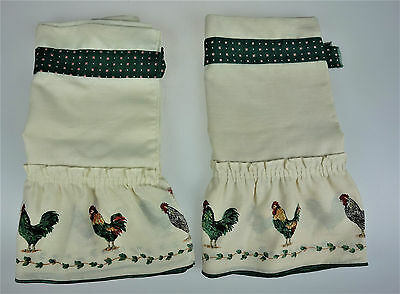 2 Chickens Roosters Hens Kitchen Curtain Valance Tier Pair Country Farm Decor
