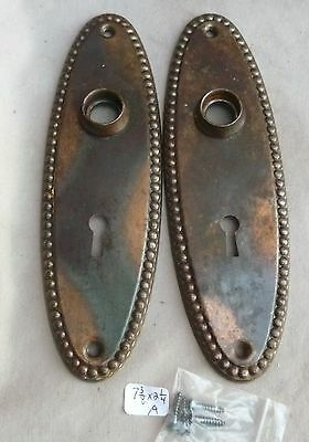 "Door Knob Back Plates BEADED OVAL flashed copper plated 7 3/8""h 1890s (per pr) A"