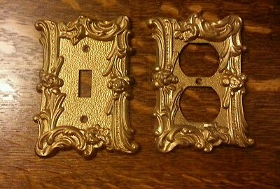Vintage Switch Plate & Outlet Cover Gold Set of Two