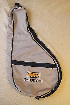 Bridge Mill Tennis Racquet Bag, Tan Canvas with Black Carrying Handle