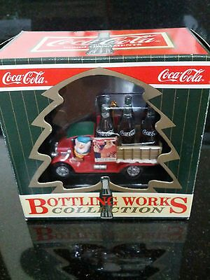 Coco-Cola Christmas Ornament Bottling Works Truck Santa Collectible Vintage