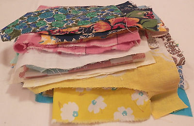 Vintage Lot Feed Sack & Cotton Fabric Pieces Scraps Quilting Craft