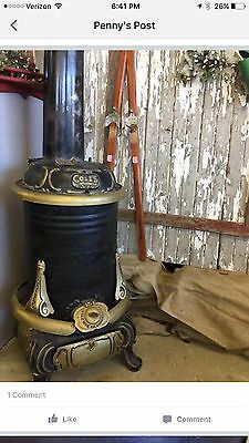 Antique Cast Iron Metal Parlor Stove By Coles As Found Vintage Coal