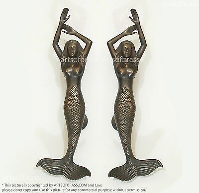 "RARE 15.35"" Vintage Half Naked Mermaid Fantasy Tale Brass Main Door Entry Handle"
