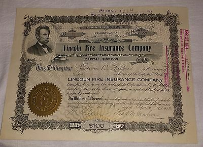 1912 Lincoln Fire Insurance Co. Stock Certificate