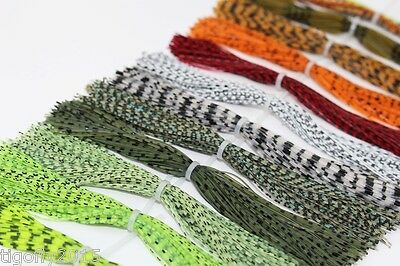16 bundles/lot Silicone Legs Barred Color Pearl Flake DIY Fly Tying Materials