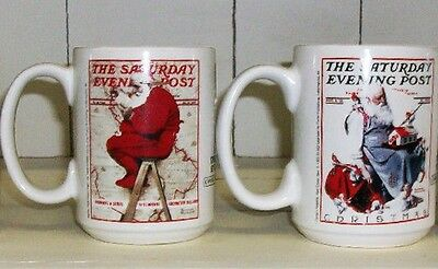 2 Mugs-Collectible Saturday Evening Post/norman Rockwell Christmas/holiday Cups