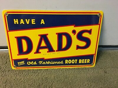 Porcelain Dads Root Beer Advertising Sign
