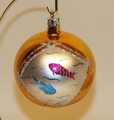 1989 Christopher Radko Glass Christmas Ornament Lucky Fish Gold Ball 89-073-0