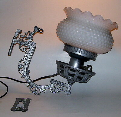 Antique Victorian Iron Wall Bracket Sconce Electric Oil Lamp Hobnail Shade Glass
