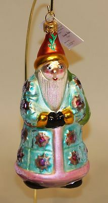 1995 Christopher Radko Glass Christmas Ornament Quilted Santa 95-187-0