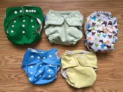 Lot of Five Cloth Diapers Various Brands One Size