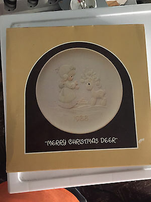1988 Merry Christmas Deer Precious Moments Plate Decoration Collection 3ed Issue