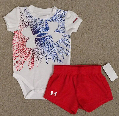 NWT Under Armour Baby Boy Short Sleeve Bodysuit & Shorts Set Size 3-6 Months