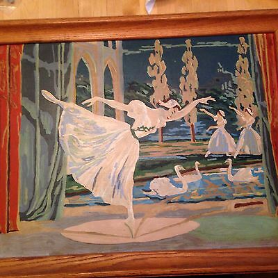Vintage Completed Large Paint by Number Swan Lake Ballet 27 X 21 Inches FRAMED