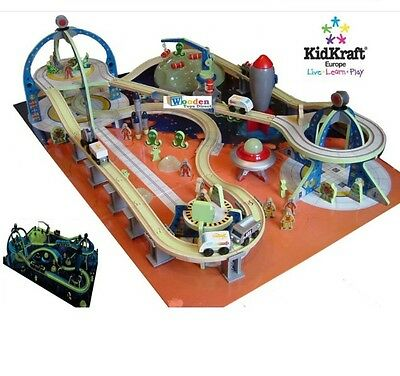 Kidkraft Glow In The Dark Space Wood Train Set Station 17471 Compatible Thomas