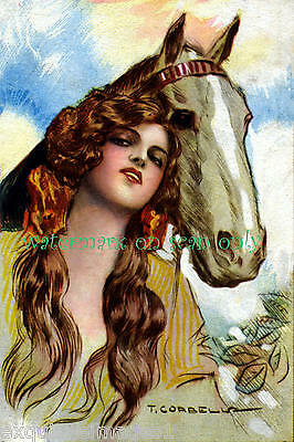 Corbella~Beautiful Woman with Long Hair-Palomino Horse~ NEW Large Note Cards