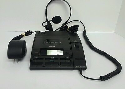 Philips LFH0725 Mini Cassette Executive Dictation System w/ Microphone + Headset
