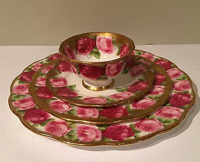 Royal Albert Old English Roses Heavy Gold Gilt Cup Saucer Lunch Dinner Plate Set