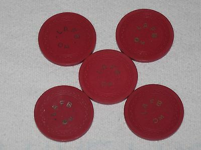 Lot of 5 Vintage LAFB OM ? Air Force Base Officers Mess Clay Poker Chips Red