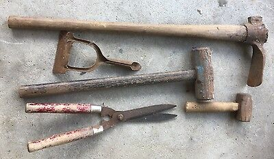 Old tools - sledge hammer, mattock, dutch hoe & more