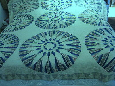 EARLY ANTIQUE 1830-1850 MARINERS COMPASS QUILT  Massachusetts,