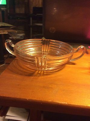 Lovely pink depression glass ribbed dish with two handles