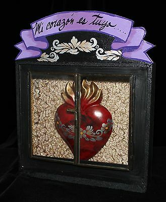 My Heart is Yours! Hand Made Reliquary Glass Doors Nicho Niche Mexican Folk Art