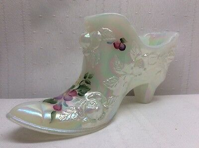 Fenton Vintage White Opalescent Shoe Hand Painted Roses Slipper Boot. S11.
