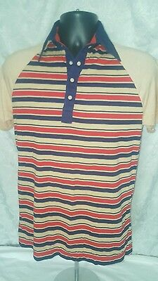 Vtg ELAN Striped Polo Shirt 70's Hipster RETRO Men's M/ S Polyester/Cotton Blend