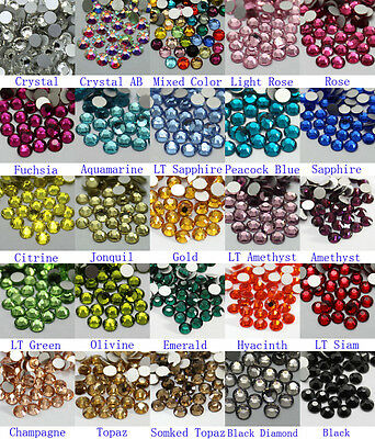 1440~7200 pcs High Quality Flatback Rhinestones SS6~SS10 Multiple Color Crystal
