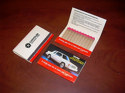 1 Vintage Large Matchbook DODGE ARIES Match Book Chrysler Canada Ltee Never Used