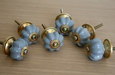 Lot Of 6 Vintage Style Gray Ceramic & Brass Spigot Drawer Pulls Knobs Handles