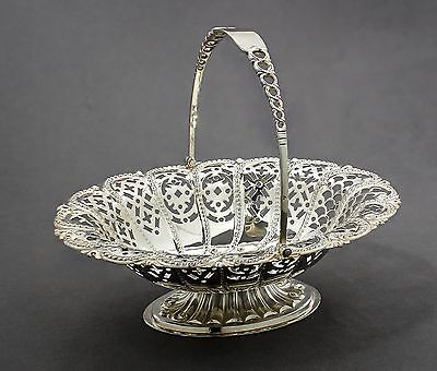 Antique Edwardian sterling silver small pierced sweetmeat basket bowl Atkin Bros