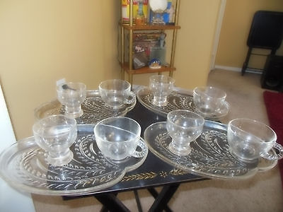 Vintage Federal Glass Co.12 Piece Set Snack Master Plates Cups Glasses