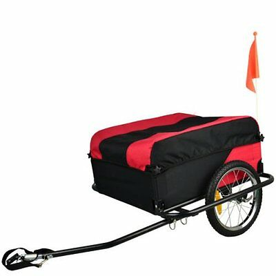 Folding Black&Red Bicycle Trailer carries Cargo Trailers Fabric Top Cover 100KG