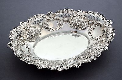 Antique Edwardian sterling silver repousse oval bowl shell scroll border floral