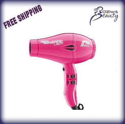 Parlux Advance Light Ceramic and Ionic Hair Dryer Pink + 2 Nozzles