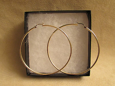 New 10kt Extra Large Yellow Gold Hoop Earrings