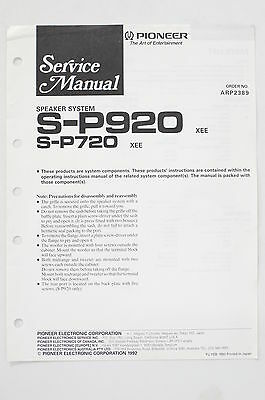 PIONEER S-P920 S-P720 Speaker System Service Manual/Guide/Wiring diagram! o68