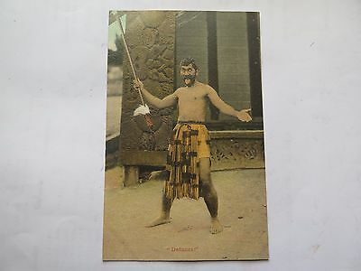 "MAORI WARRIOR PERFORMING HAKA ""DEFIANCE !"" NEW ZEALAND POSTCARD c1900s No 128"