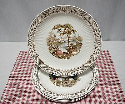 "LOT of Five Adams Antionette 10"" Dinner Plates, Ironstone, England"