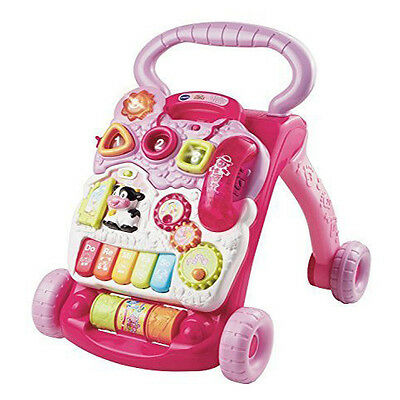 VTech First Steps Baby Walker Pink 2 in 1 activity electronic music walking play