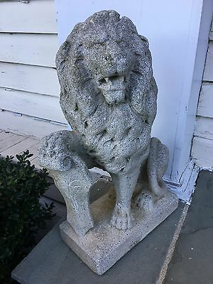 Pair Lions Statuary- Seated With Shields- Vintage Concrete- Great Patina  & Cond