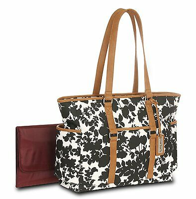 Carter's Floral Tote Diaper Bag, Black/White