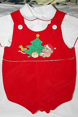 VINTAGE Baby BOY ROMPER OUTFIT Christmas SIZE 6-9 MONTHS Cradle Togs Red Dressy