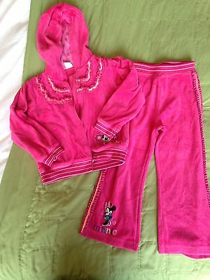 Girls Pink Velour Minnie Mouse Tracksuit 2-3 Years